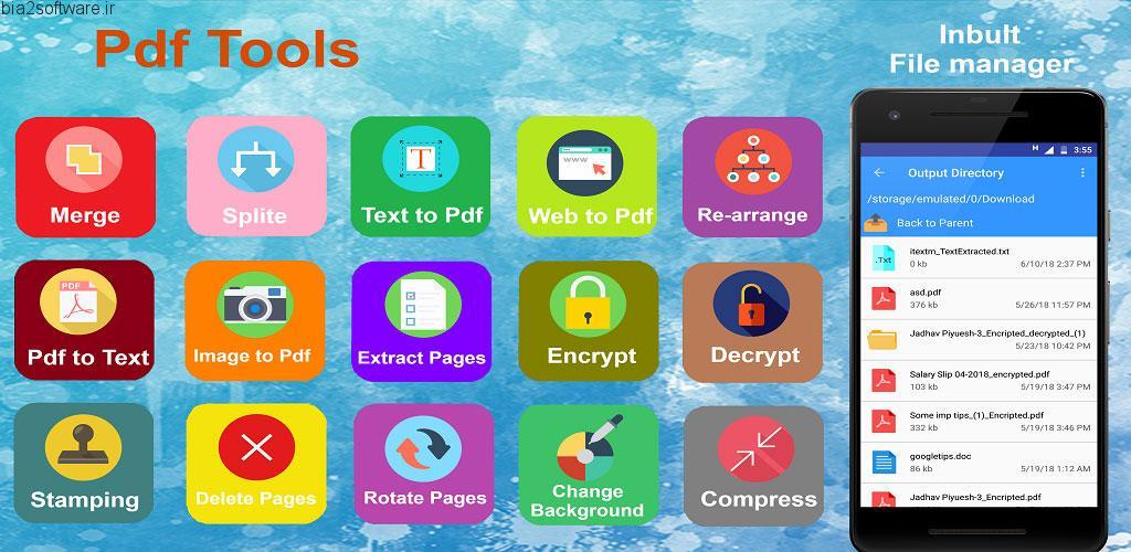 Pdf Tool – Merge, Split, Watermark, Encrypt v1.5 اپلیکیشن مجموعه ابزار کاربردی پی دی اف اندروید