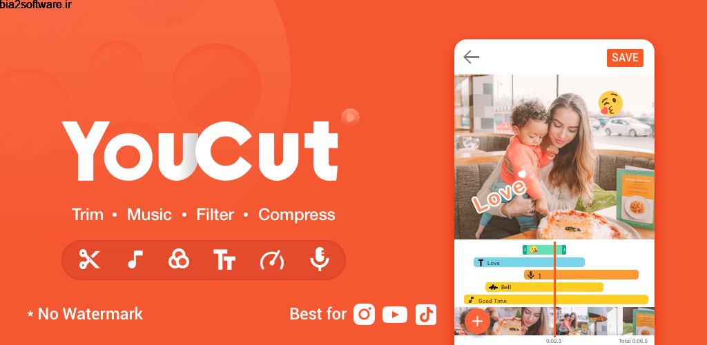YouCut-Video Editor & Video Maker,No Watermark PRO 1.372.94 ویرایشگر ویدئو قدرتمند و پر امکانات اندروید !