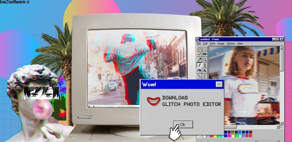 Glitch Photo Editor – glitch effect, vaporwave Premium 1.14.9 ویرایش تصاویر با فیلتر های مدرن مخصوص اندروید
