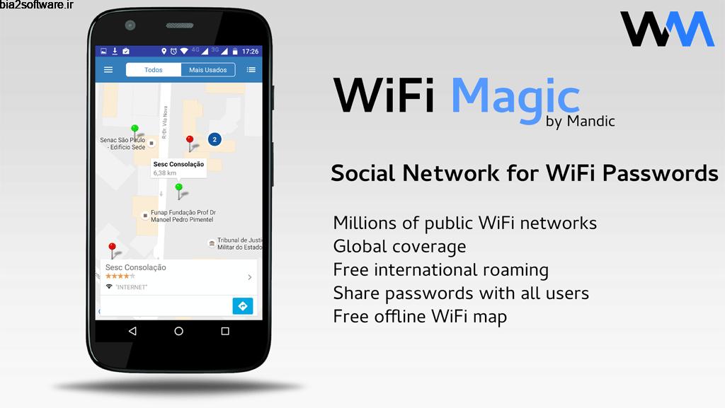 WiFi Magic by Mandic Passwords Premium 3.9.4 نمایش شبکه ها وای فای رایگان اندروید!