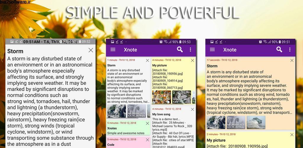 Xnotes -notes, notepad, sticky notes, notebook Pro 2.2.3 یادداشت برداری پر امکانات و خاص اکس نوتز اندروید !