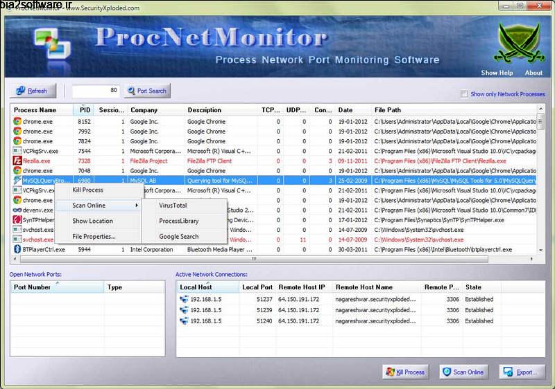 Process Net Monitor 6.0 مدیریت و کنترل فعالیت های شبکه