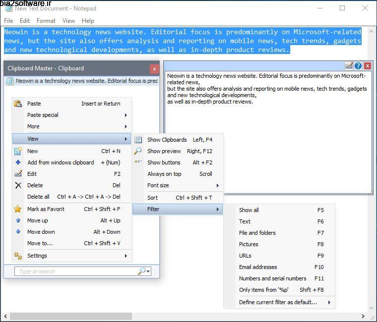Clipboard Master 4.0.9  مدیریت حافظه کلیپ بورد