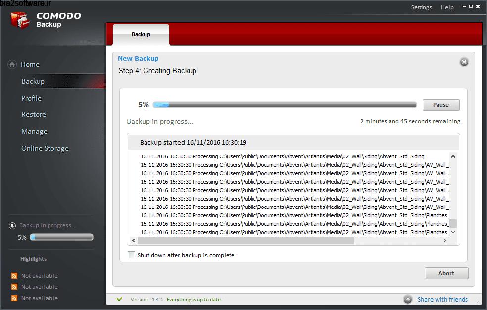 Comodo Backup 4.3.9.27 گرفتن پشتیبان