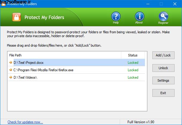 Top Password Protect My Folders 1.80 محافظت از فایل ها