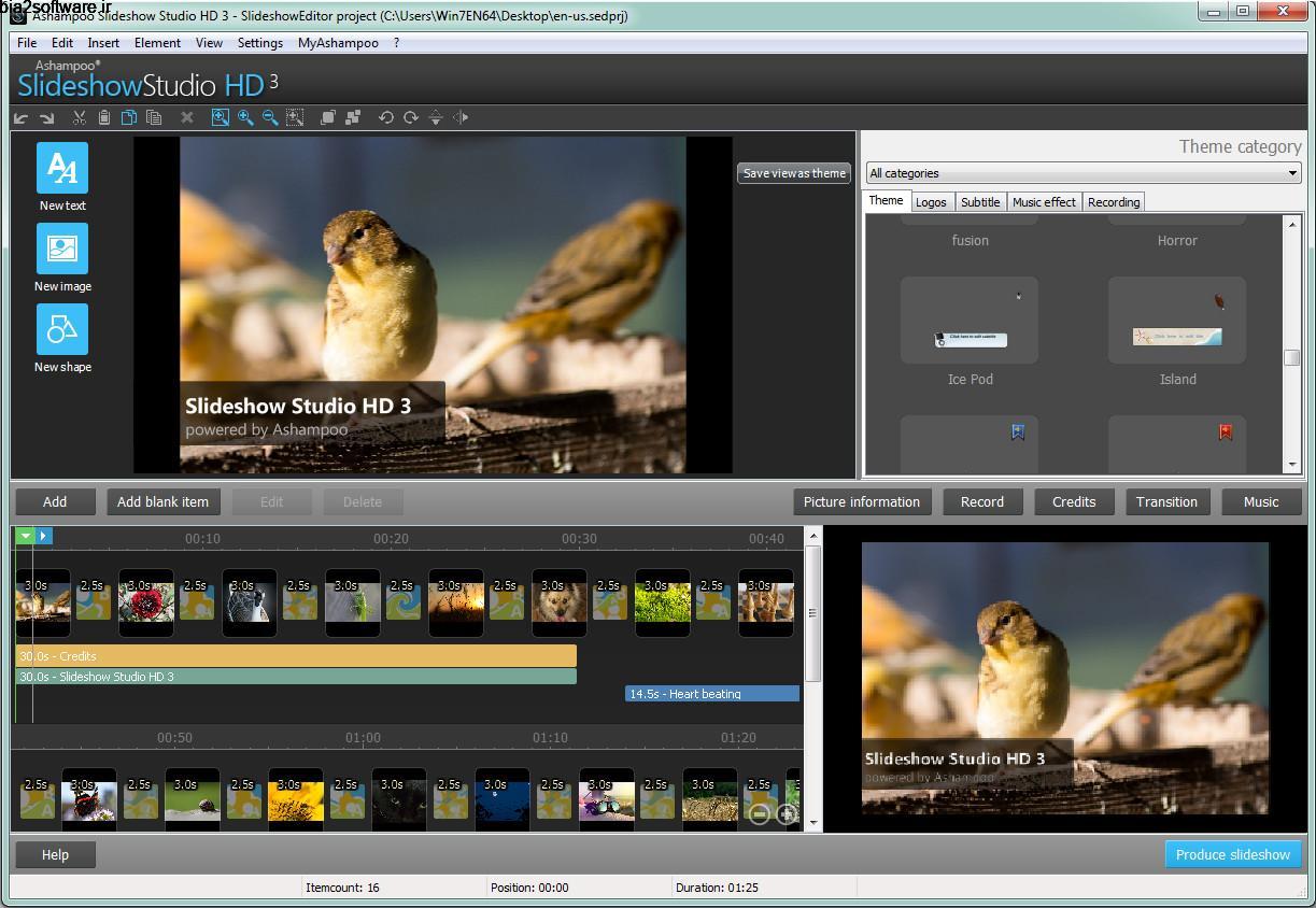 ساخت اسلایدشو Ashampoo Slideshow Studio HD 4 Windows
