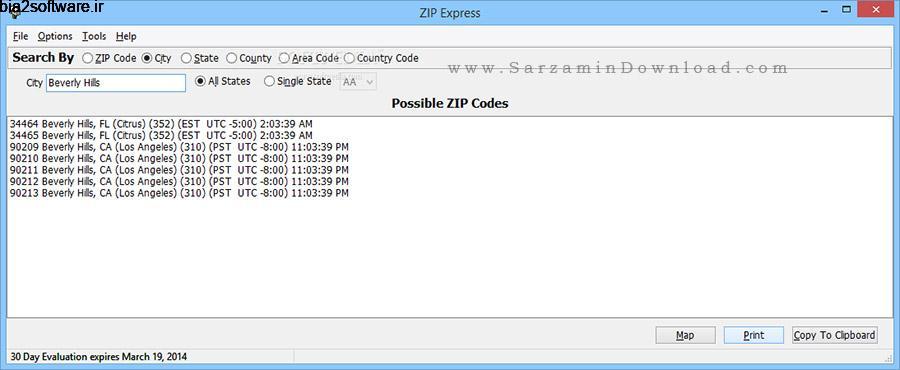مشاهده کد پستی Zip Express 2.8 Windows