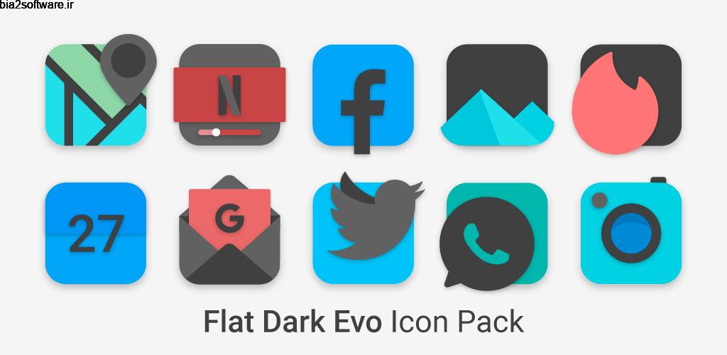 Flat Dark Evo – Icon Pack 4.0 آیکون پک با طراحی فلت و دارک مخصوص اندروید