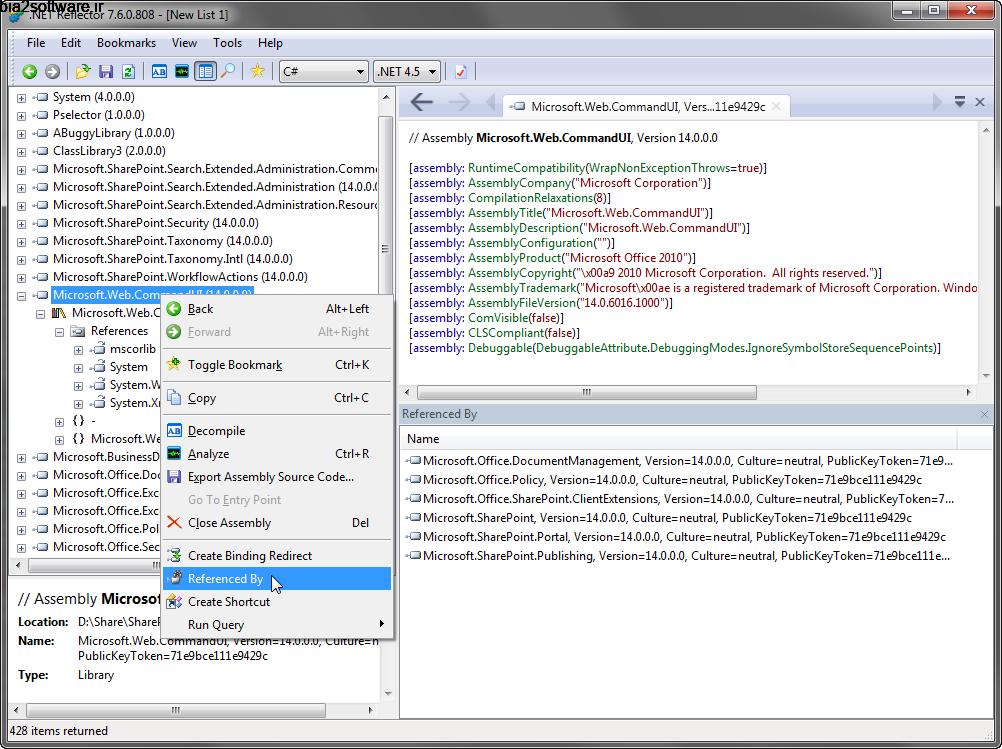 تشریح کدهای برنامه نویسی دات نت Red Gate .NET Reflector 9.0.2 Windows