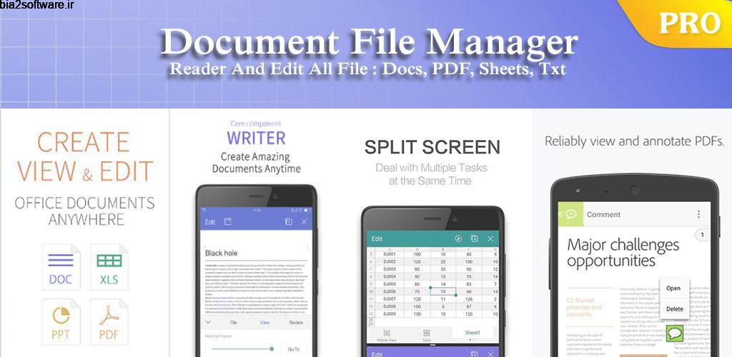 ES Office Document – Word Office, XLS, PDF Reader 4.7.20 آفیس کم حجم و قدرتمند مخصوص اندروید